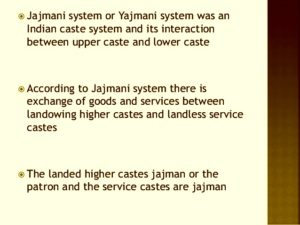 jajmani system examples and definition