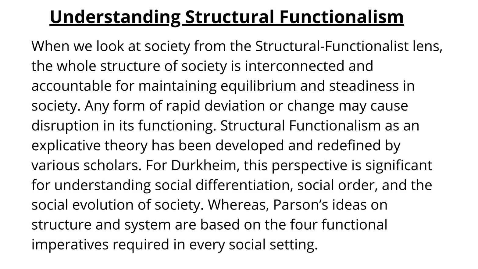 Structural Functionalism Definition and Summary